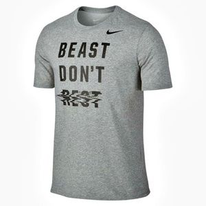 NWT Nike Men's L Gray Black BEAST DON'T REST Tee